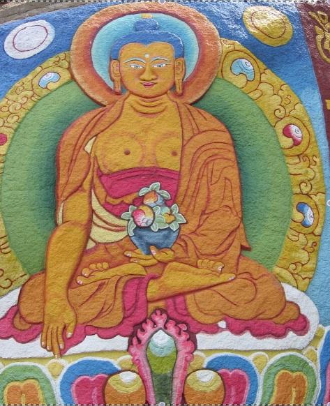 Photo: Tibetan painting of Shakymuni Buddha on a boulder at the Palpung Monastery, onwardtibet.org