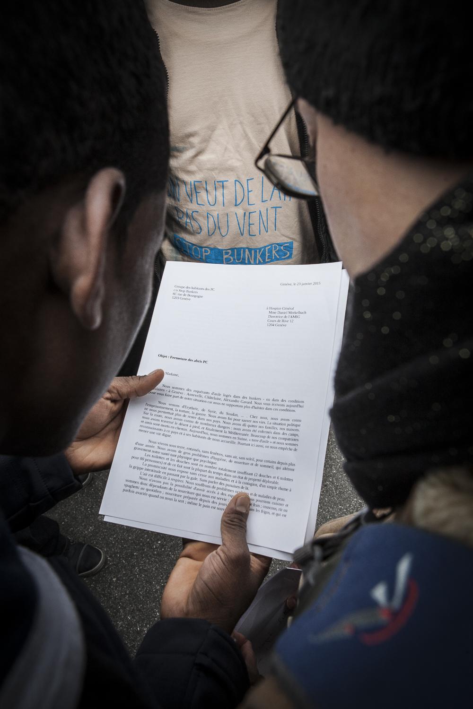 Remise de la lettre à l'Hospice général, 26.01.2015. Photo: Alberto Campi