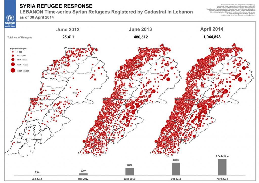 Cadastre recensant l'installation des réfugiés syriens au Liban, en juin 2012, juin 2013 et avril 2014. UNHCR