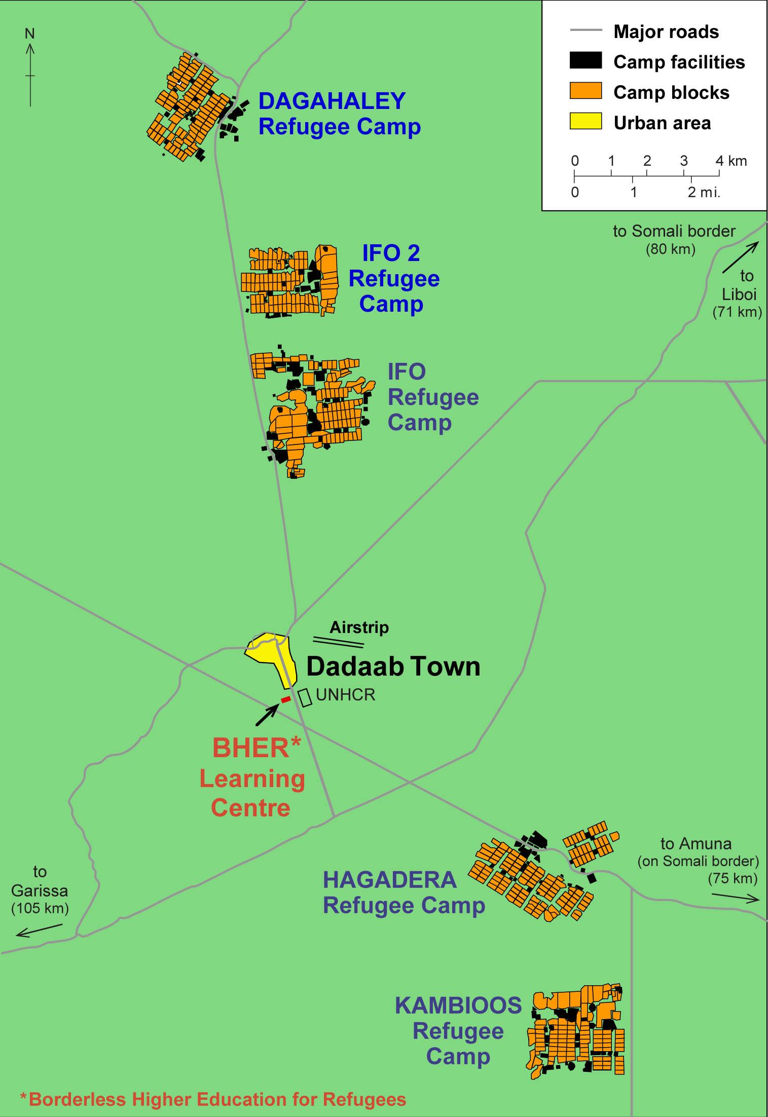 La structure du camp de réfugiés de Dadaab.