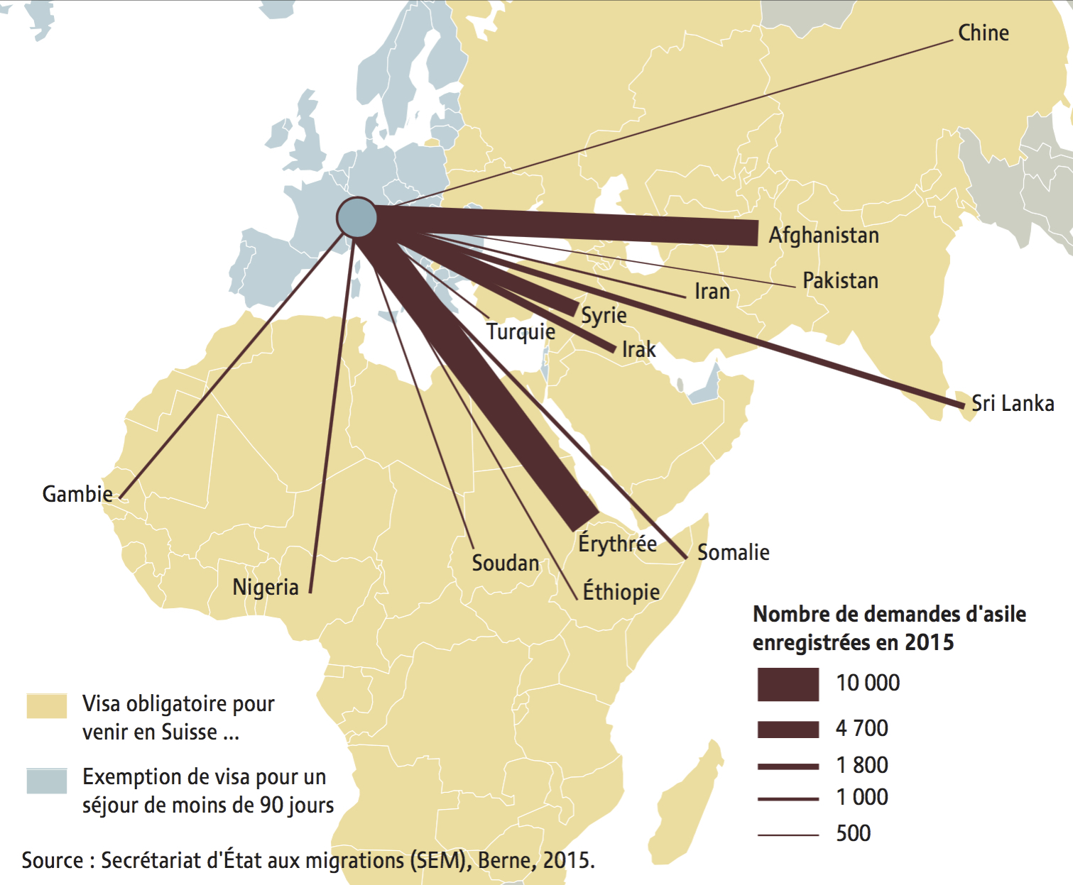 Carte demandes d'asile 2015 - obligation de visas