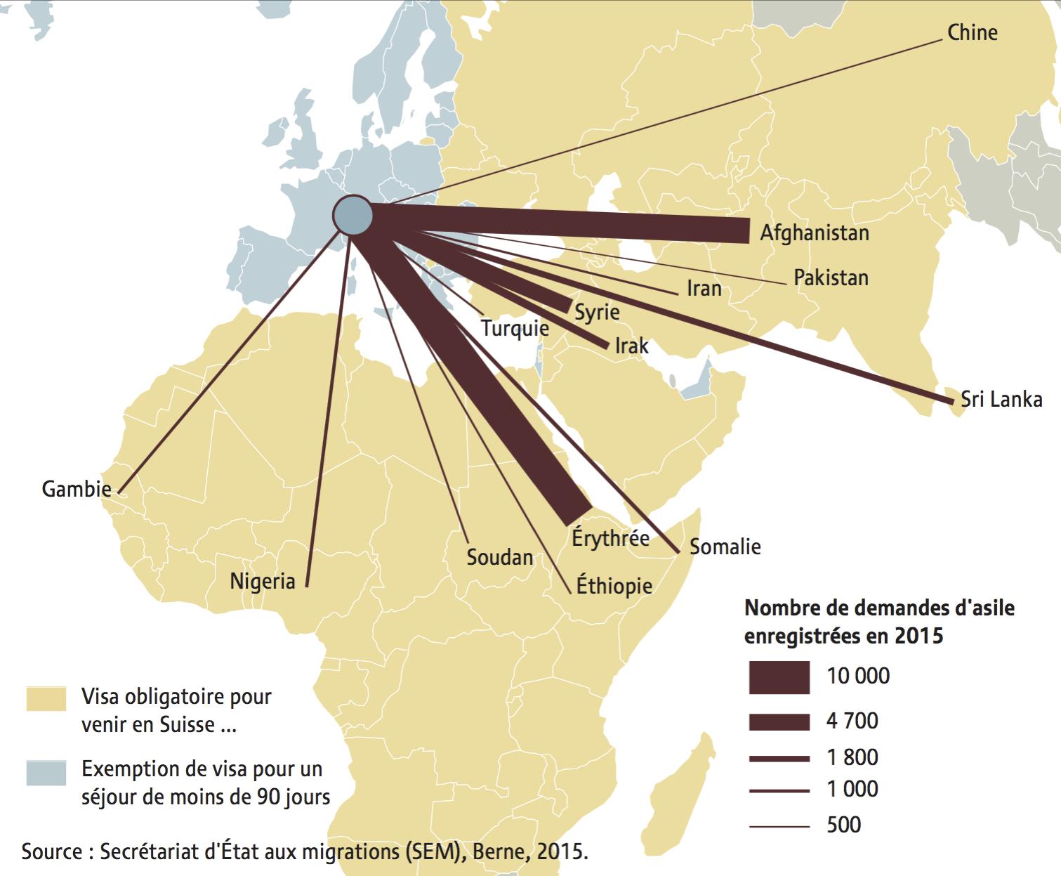 Carte demandes d'asile 2015 - obligation de visas