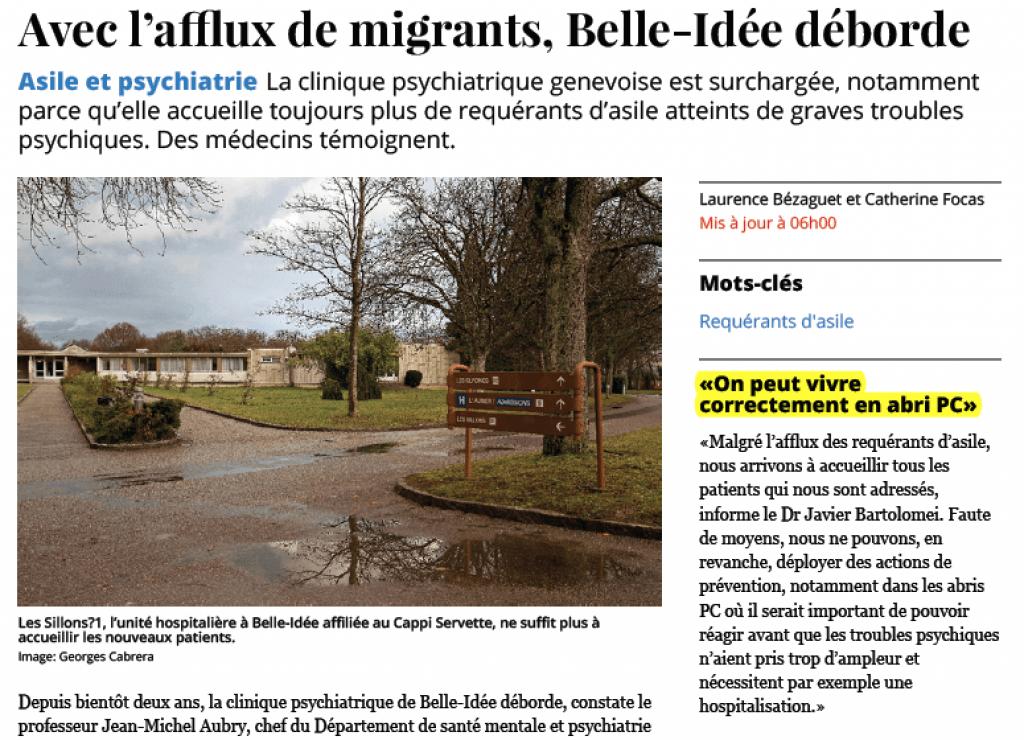 Copie d'écran de l'article tel que paru dans Le Temps avant notre intervention.