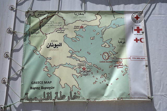 Map, Souda Refugee Camp, Chios, Greece. Photo: John Perivolaris / flickr