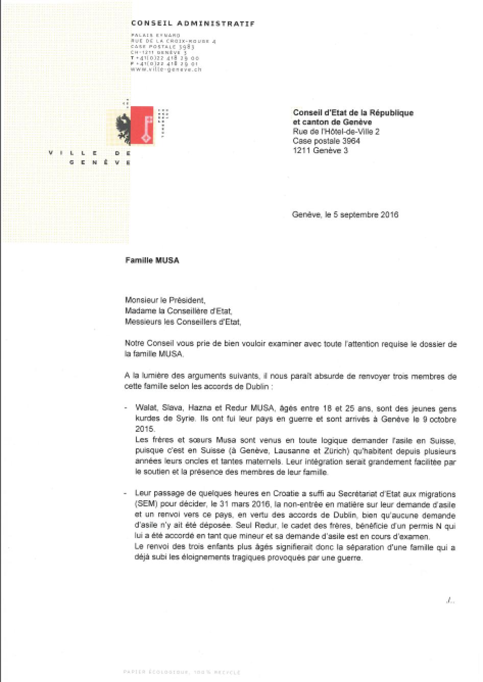 Lettre Conseil Administratif GE_Fratrie Musa